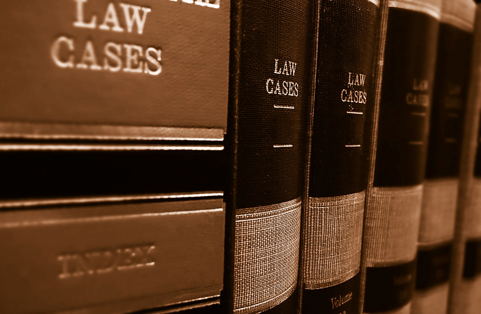 Row of books containing lawsuit cases