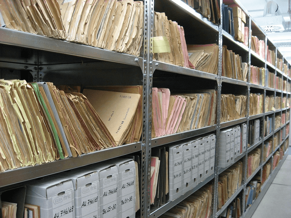 Public records being kept in a storage facility